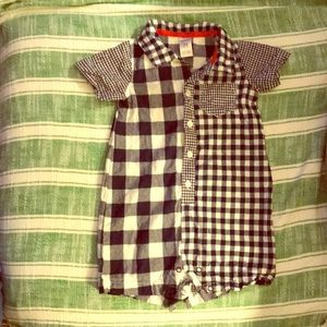 Carters one piece boys gingham outfit